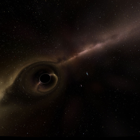 black hole surrounded by debris